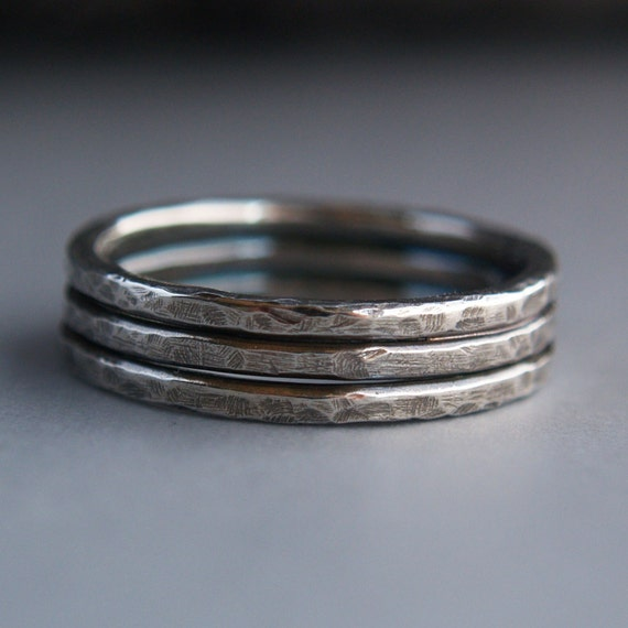 TRI STACK HAMMERED Sterling Silver Oxidized Handmade Ring Size 8