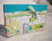 Blue and Green Altered Recipe File Box