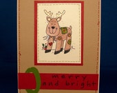 Merry and Bright Reindeer Holiday Card