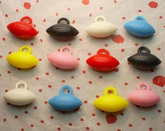 12 x Old-Stock Plastic Football Charms