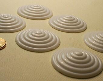 LAST LOT 10 x Vintage Jumbo White Concentric Bullseye Plastic Cabochons