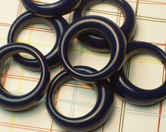 LAST LOT 8 x Vintage Lucite Navy Blue Hoop Pendants