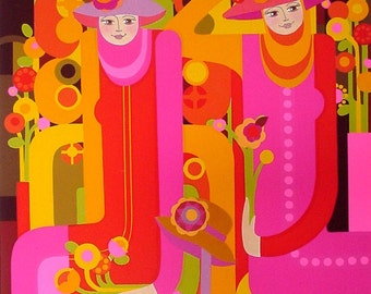"An Original Serigraph - ""THE HAT GIRLS"" - SilkScreened with Applied Collage"