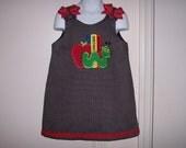 School Days Back to School Bookworm Applique Dress - PreK - Kindergarten Dress - Apple Dress - School Dress - Daycare