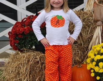 Halloween FALL Pumpkin Applique and Monogram Initial T-shirt with Ruffle Pants Set sizes 6 mo thru 6X