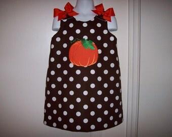 Chocolate Brown Polka Dot PUMPKIN Applique A-line Dress