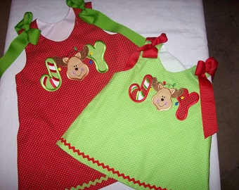 Lime with Red Dot JOY Reindeer Applique Christmas Holiday A-line Dress You CHOOSE