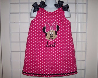 Hot Pink Small Dot Minnie Mouse Face Applique with Monogram A-line Dress + add ruffle sleeve t-shirt and/or socks option - birthday party