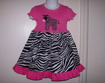 Hot Pink Zebra Applique T-shirt Dress size 12 mo 18 mo 24 mo 2T 3T 4T 5T 6X 7-8