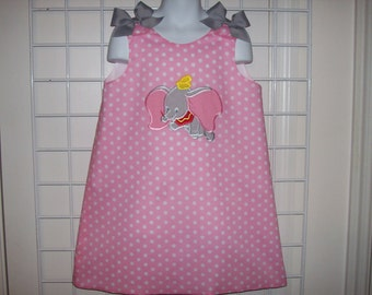 DUMBO Applique Pink Polka Dot A-line Dress starting at size 3 mo going up to 6X