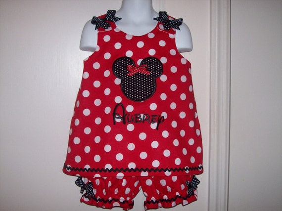 Boutique Red Polka Dot Minnie Mouse Applique and Monogram A-line Top with Bloomers Set