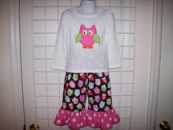 Owl Applique T-shirt with Ruffle Capri or Pants Set 12 mo 18 mo 24 mo 2T 3T 4T 5T 6-6X