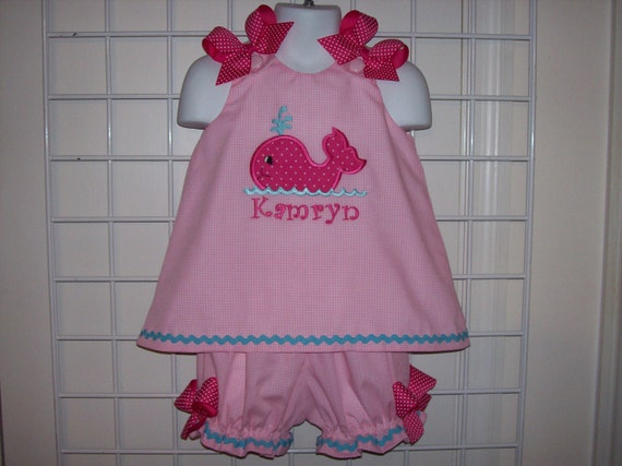 Pink Gingham Whale Applique Monogram A-line Top with Bloomers Set - birthday party - cruise - beach - vacation