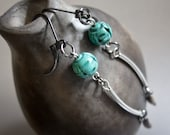 Long Thai Seed Earrings with Turquoise