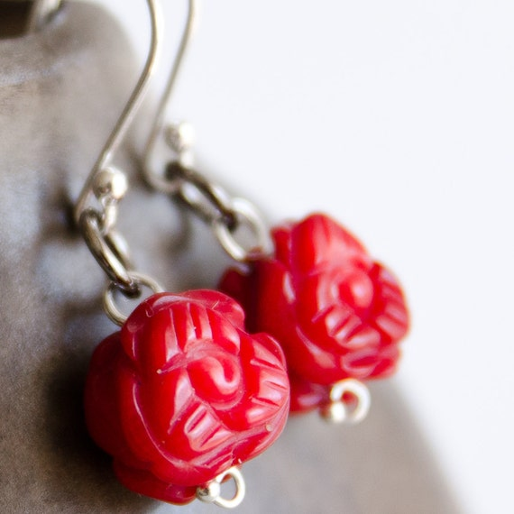 Sterling Silver Earrings with Carved Coral