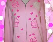 Pink Kawaii Cupcake Zip Hoodie Size L soft upcycled