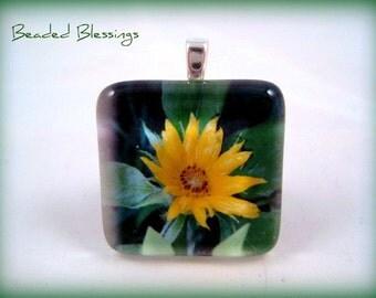 Flowers of Blue Ridge Glass Tile Pendant