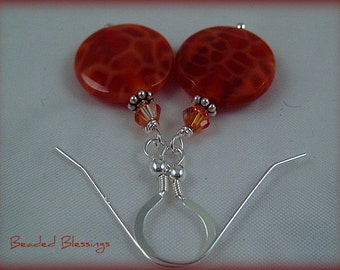 CrabFire Agate and Sterling Silver Earrings