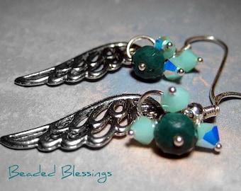 Fancy Jasper Angel Wing Earrings