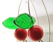 SALE - Red and Green Czech Glass Cherry Earrings - Sterling Silver Jewelry - Sweet Cherries