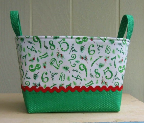 Fabric Storage Bin- Twelve Days Of Christmas- Large