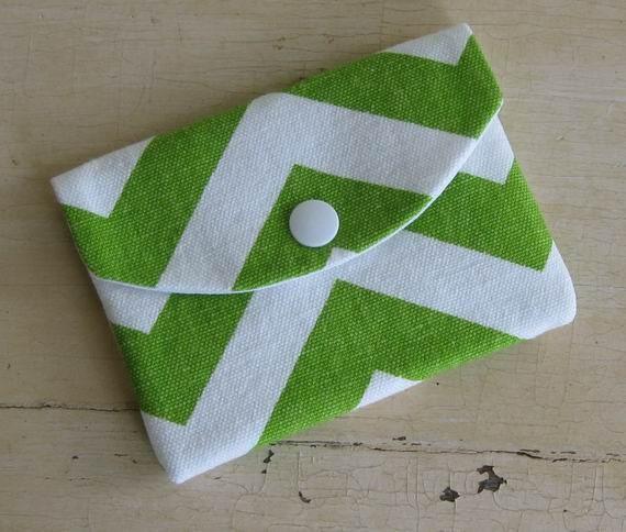 Mini Wallet- Chevron- Zig Zag- Chartreuse- White- Single Pocket