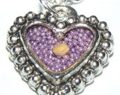 Mustard Seed Heart Necklace with Purple Background