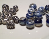 Destash- Blue and Cream beads with silver accent beads