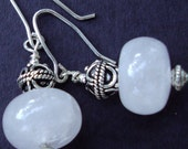 ROSE QUARTZ DANGLE EARRINGS WITH BALI STERLING SILVER