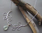 Branching Out - 18 inch Sterling Silver Branches and Prehnite Drop Necklace