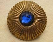 Vintage Gold Button - Blue Jewel