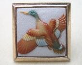 Vintage Arita Toshikane Pin - Mallard Duck - Japan Porcelain