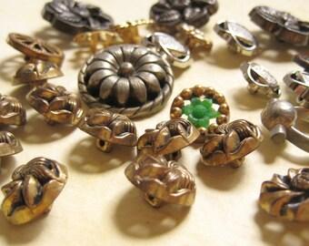 Vintage Plastic Buttons - Faux Metal