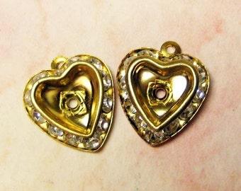 Vintage Jewelry Finding - Rhinestone Heart