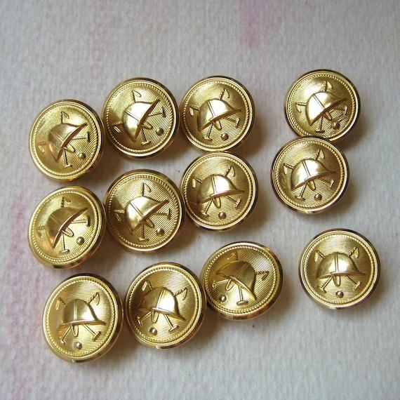 Vintage Equestrian Helmet Buttons - Golden Polo Hat