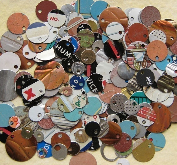 Recycled Tin Discs - VINTAGE Metal Tokens - Outsider Art Jewelry