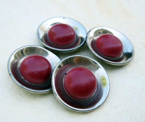 Vintage Metal Buttons - Red and Silver Chrome
