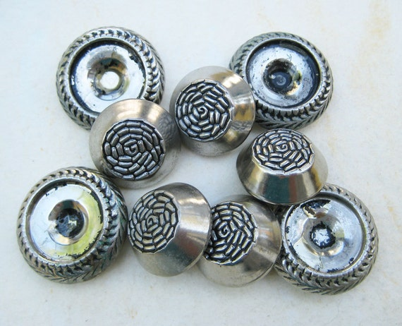 Vintage Metal Buttons - Silver Fabric Textures