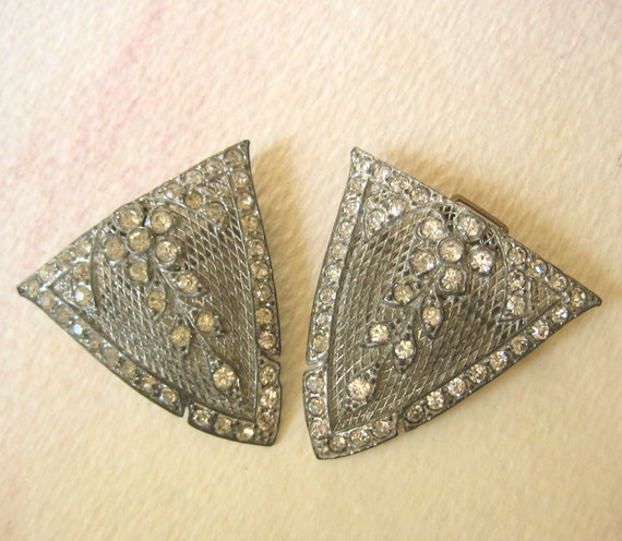 RESERVED for SHARON - Vintage Rhinestone Buckle - Metal Filagree