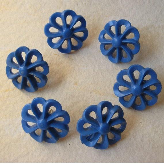 Vintage Plastic - Curtain Tie Backs - Teal Blue Flowers 1930's - 40's
