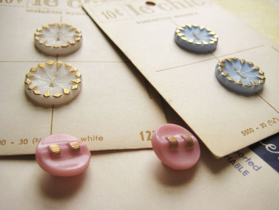 Vintage German Glass Buttons - Pastels
