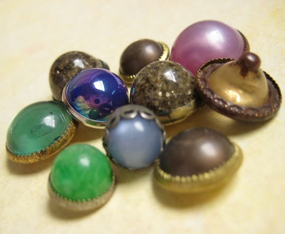 Little Faux Jewels - Vintage Buttons - Rainbow of Colors