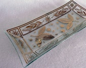 Glass Serving Tray Platter with Gold Leaf