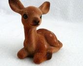 Vintage Fawn Deer Figure Flocked Figurine Woodland