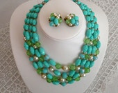 Vintage Aqua Bead Necklace with Matching Clip On Earrings