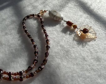 Amber Leaf and White Pendant Wire Wrapped Necklace Hand Crafted