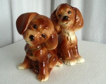 Spaniel Puppy Figurine Set Pottery Dogs