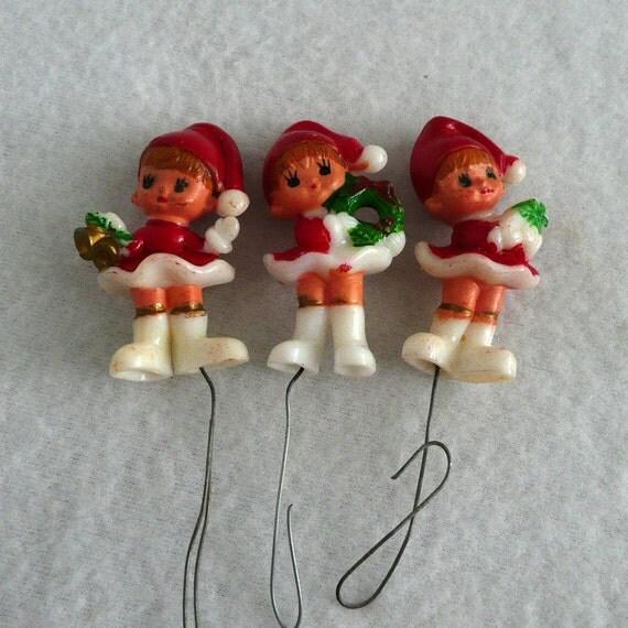 Three Santa Elves Floral Pick Ornaments