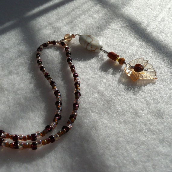 Amber Leaf And White Pendant Wire Wrapped By Sweetricevintage