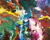 Signed Art Print from my original abstract painting...Convection...9x18 inch image...13x19 inch paper